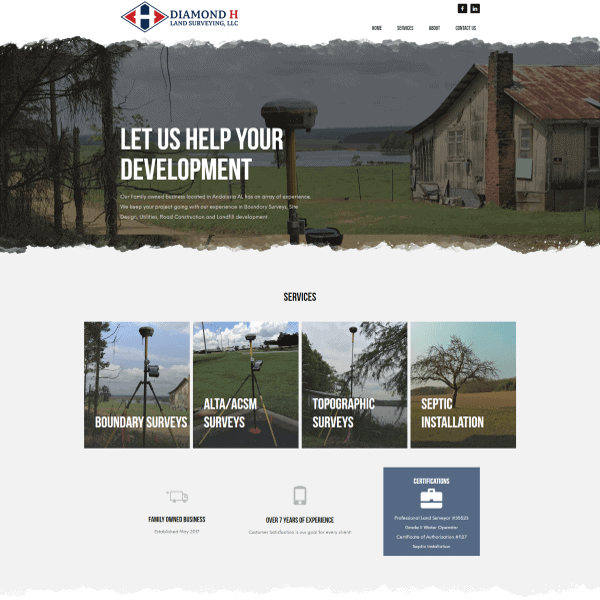 Diamond H Land Surveying Web Design