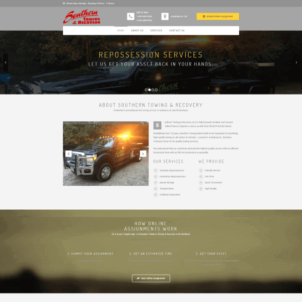 Southern Towing Web Design